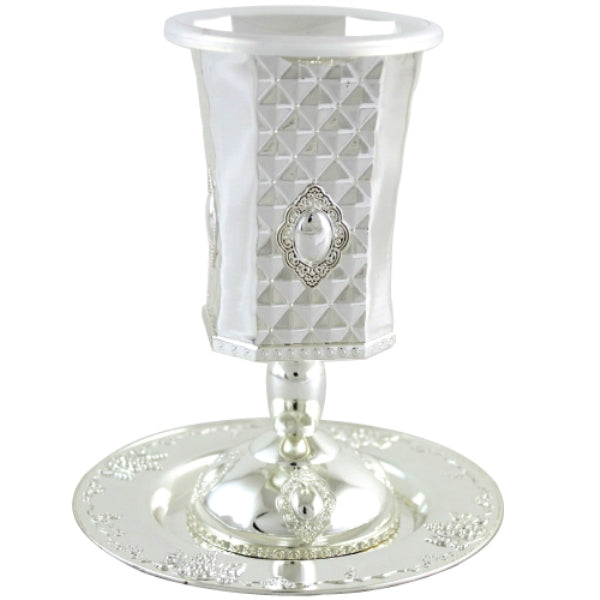 Kiddush Cup & Tray: Silver Plated Diamond Design