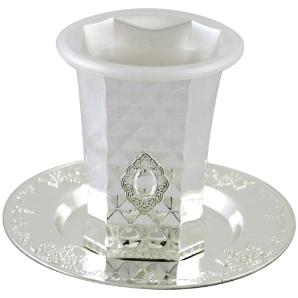 Kiddush Cup & Tray: Silver Plated