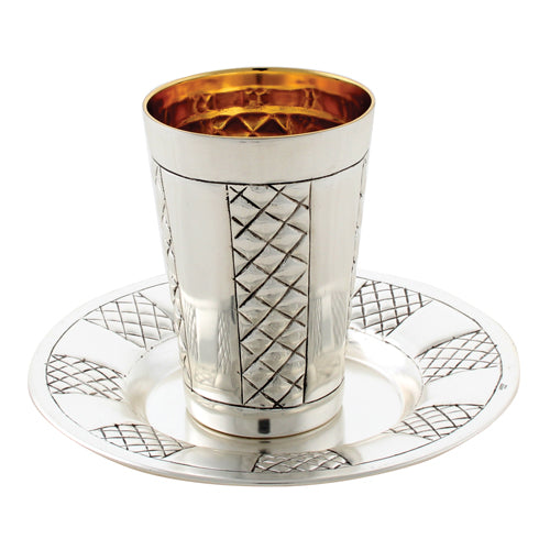 Kiddush Cup And Tray: Silver Plated Diamond Design
