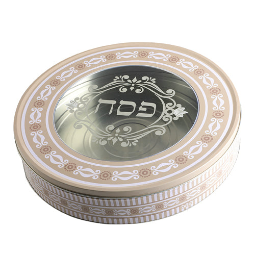 Matzah Container: Tin - For Round Matzos