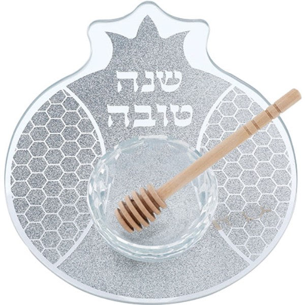 Rosh Hashanah Simanim Plate: Glass Pomegranite Shape With Honey Dish