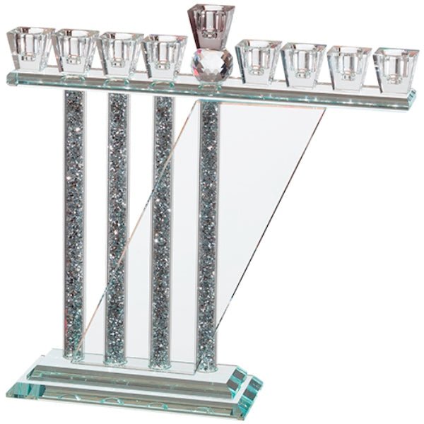 Chanukah Menorah: Crystal With Silver Shattered Glass Fill Asymetrical Back
