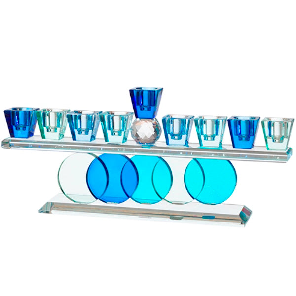 Chanukah Menorah: Crystal Blues Circle Base Design