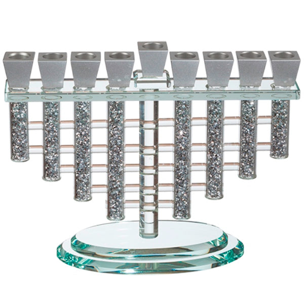 Chanukah Menorah: Crystal With Silver Shattered Glass Fill Silver Cups