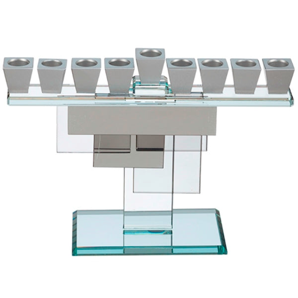 Chanukah Menorah: Crystal With Silver Cups Silver And Crystal Rectangle Geometric Base