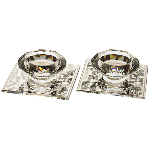 Candlestick Set: Crystal Tealight With Metal Plate Jerusalem