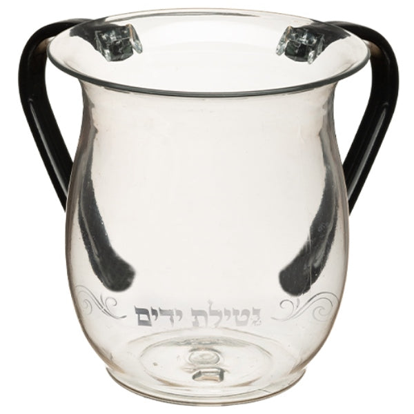 Washing Cup: Karshi Clear Netilas Yadayim Swirl Design - Grey