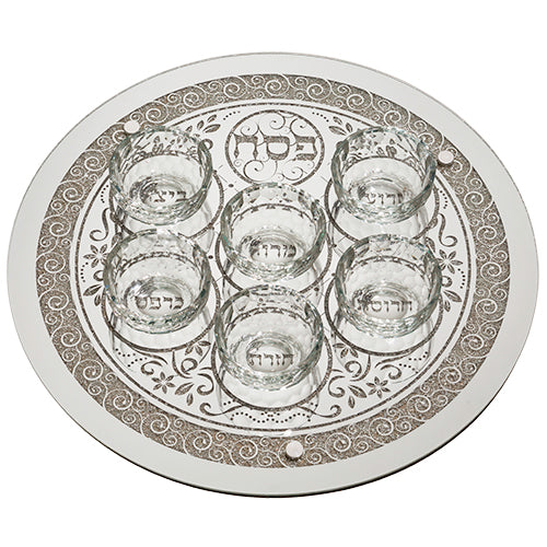 Seder Plate: Glass With Cups And Swirl Design - 16""