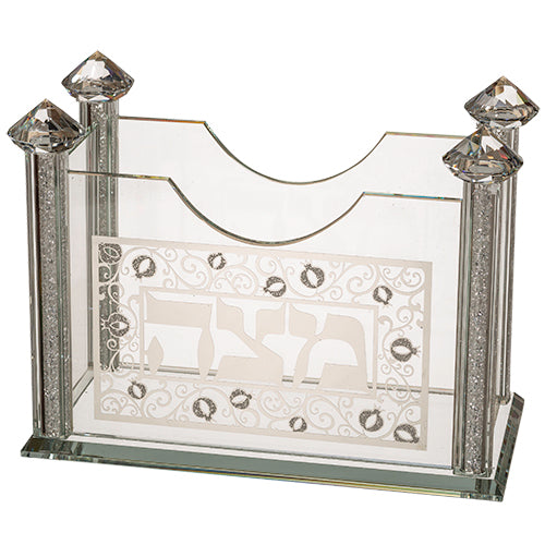 Matzah Holder: Crystal Square Pomegranite Design