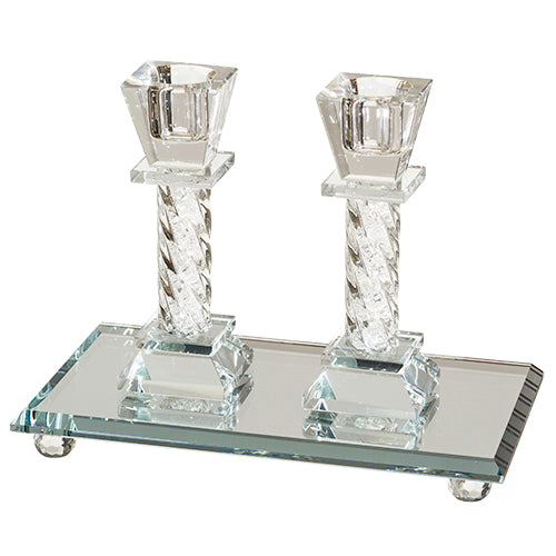 Candlestick Set: Crystal With Tray Crystal Stones Square