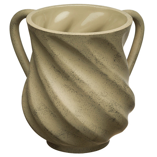 Wash Cup: Poly Wave Design Grey And Off White