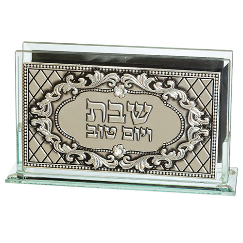 Match Box Holder: Crystal With Mirror Base and Silver Plated Jerusalem Design