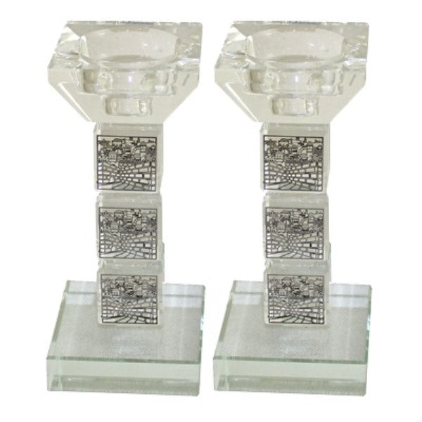 Candlestick Set: Crystal Jerusalem Design