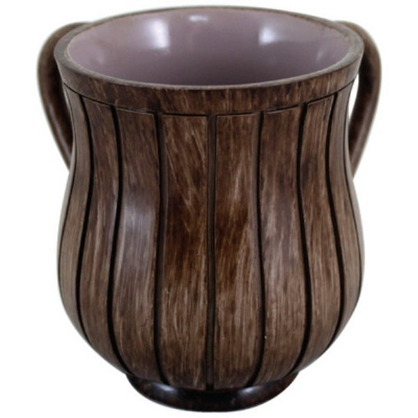 Wash Cup: Polyresin Brown Stripes