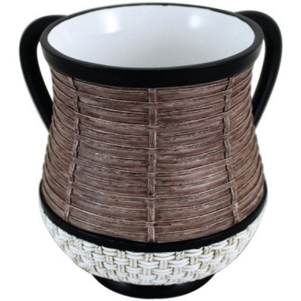 Wash Cup: Polyresin - Woven Design - Brown & White