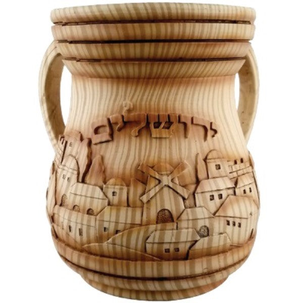Wash Cup: Polyresin - Woodlike Jerusalem Design