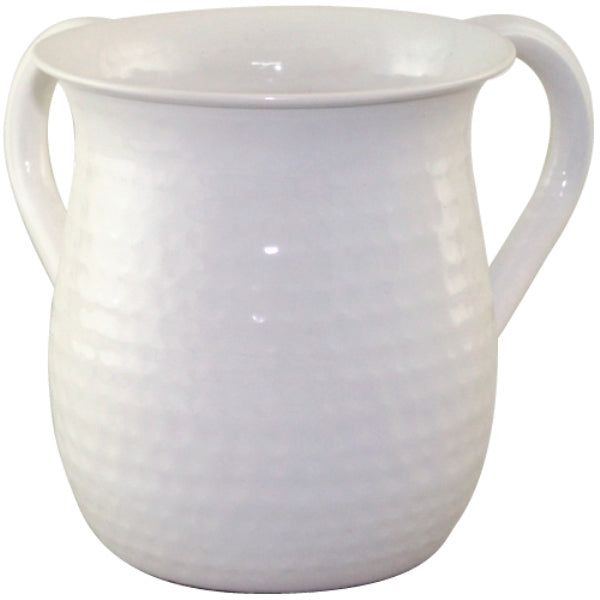 Wash Cup: Stainless Steel Hammered - White