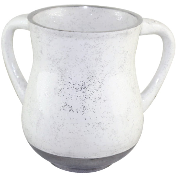Wash Cup: Aluminum Glitter Design - White