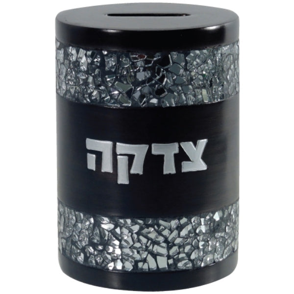 Tzedakah Box: Round Shaped Polyresin Crushed Glass Design