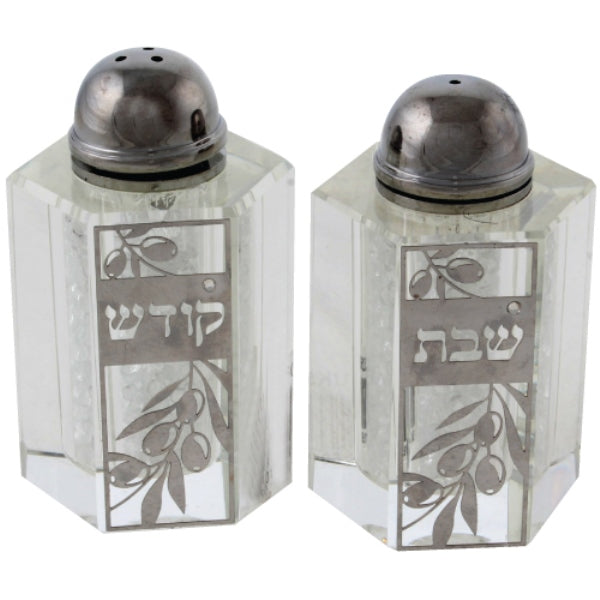 Salt & Pepper Shaker Set: Crystal & Silver Plated Olive Design