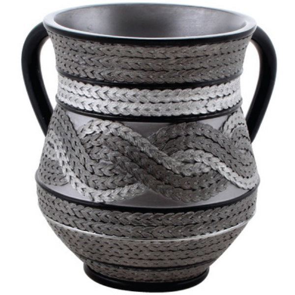 Wash Cup: Polyresin - Grey & Black Sequin Look Braid Design