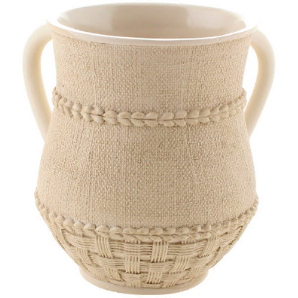 Wash Cup: Polyresin - Cream Linen Look: Leaf Ribbon Design