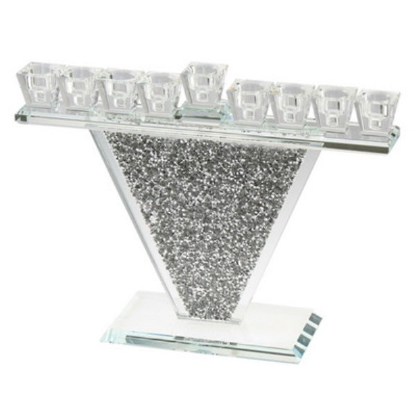 Crystal Menorah With Silver Stones