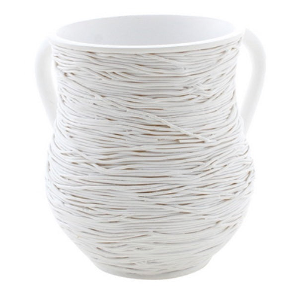 Wash Cup: Polyresin - White Strings Design