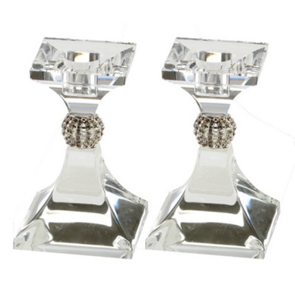 Candlestick Set: Crystal With Crystal Stones Square