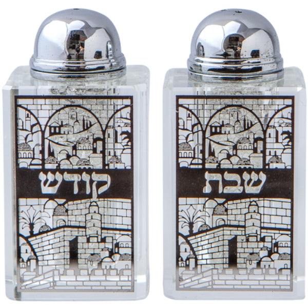 Salt And Pepper Shaker: Crystal Crushed Stone Jerusalem