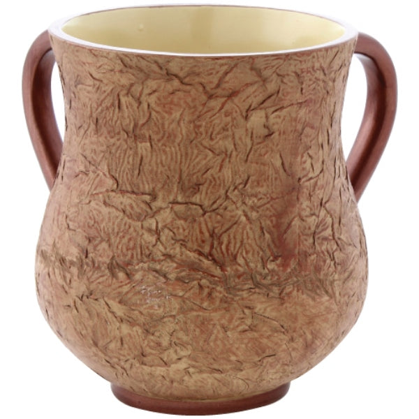 Wash Cup: Polyresin - Crickle Design - Brown