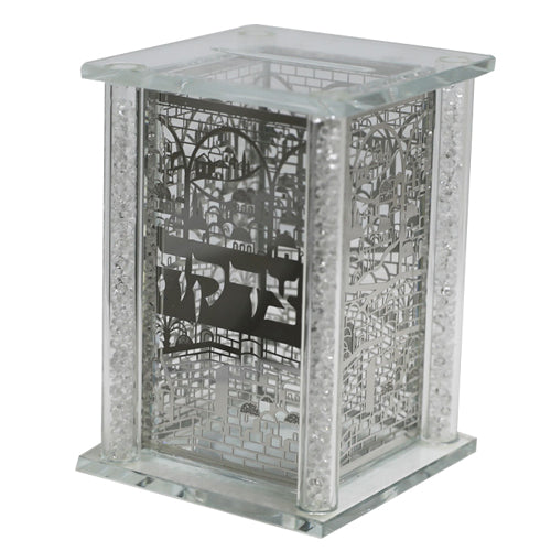 Tzedakah Box: Crystal & Metal Plated Jerusalem Design