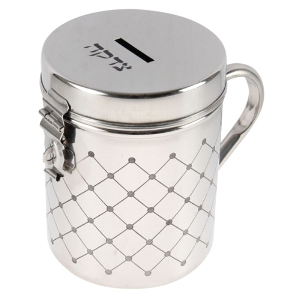 Tzedakah Box: Stainless Steel Diamond Design