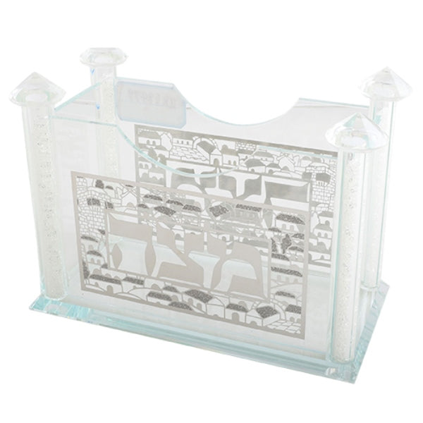 Matzah Holder: Crystal Square With Silver Plate Jerusalem Design