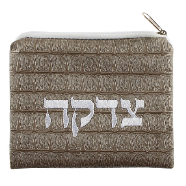 Tzedakah Zipper Pouch: Faux Leather