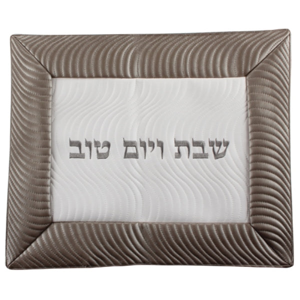 Challah Cover: Leather Like Wavy Design - Black & White