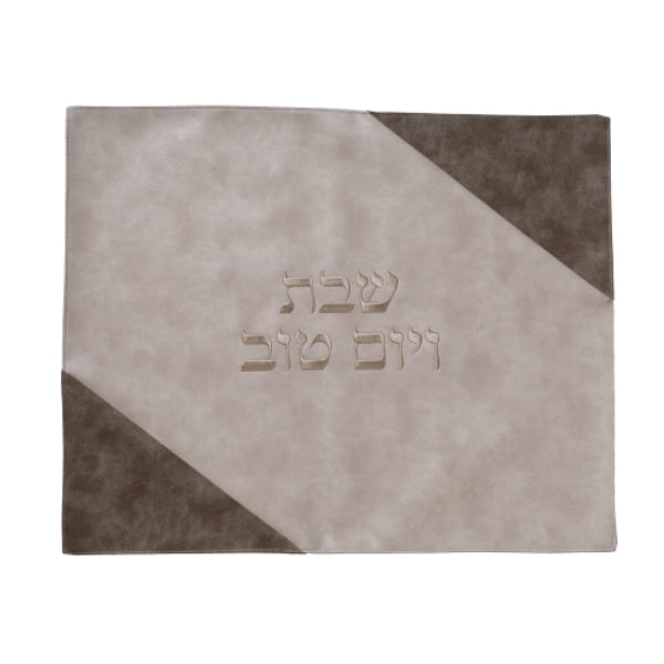 Challah Cover: Faux Leather Taupe And Cream Diagonal - Cream Embroidery
