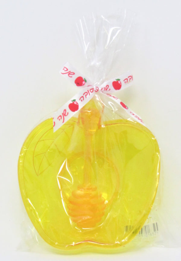 Honey Dish: Apple Shaped With Honeycomb Stick - Plastic