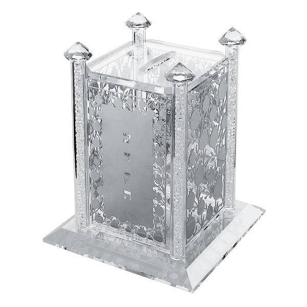 Tzedakah Box: Crystal & Silver Plaque Pomegranate Design