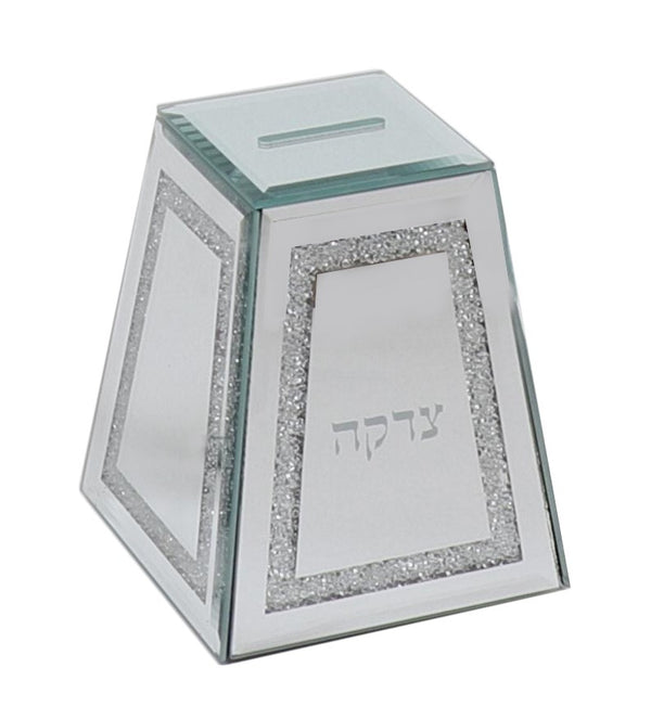 Tzedakah Box: Mirror And Shattered Glass Peices Triangle Design