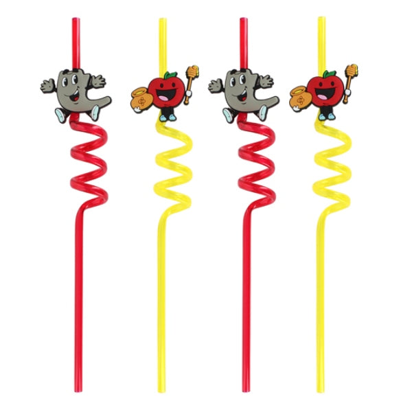 Rosh Hashanah Straws (Set of 4) - Red/Yellow