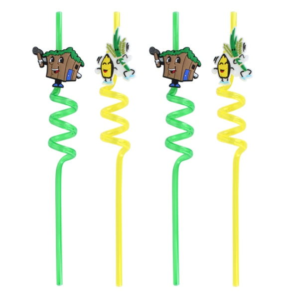 Succos Straws (Set of 4) - Green/Yellow