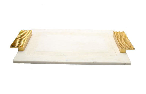 Challah Tray Marble White With Gold Embossed Handles