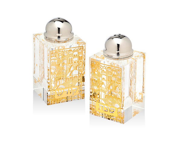 Salt & Pepper Shaker Set: Crystal - Gold Plaque