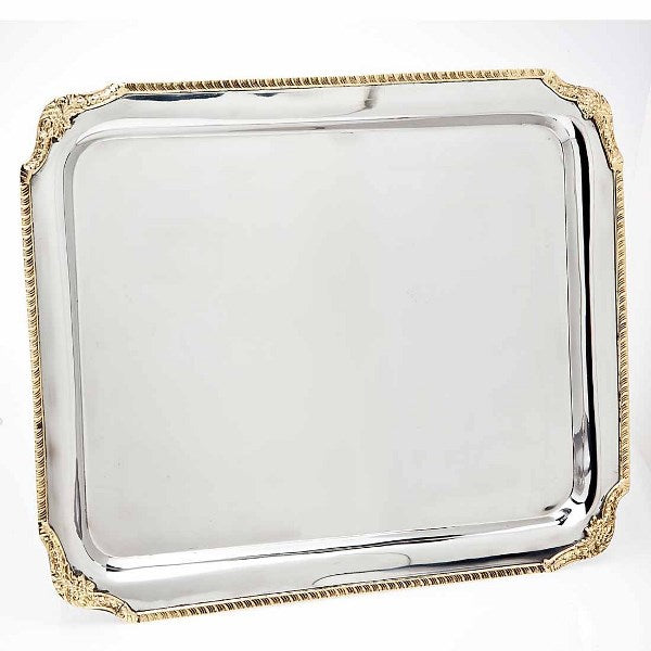Candlestick Tray: Rectangle Gold Border
