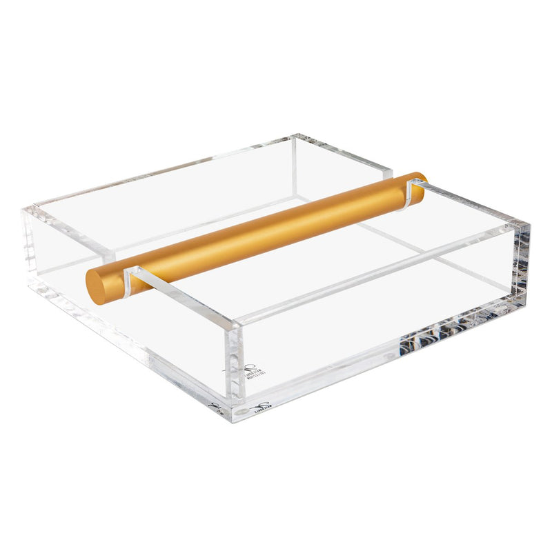 Waterdale Collection: Lucite Napkin Holder - Gold