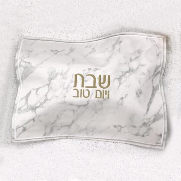 Challah Cover: Faux Leather Marble Design Gold Embroidery