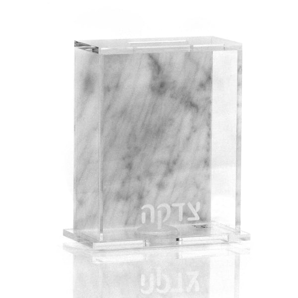Waterdale Collection: Acrylic Tzedakah Box Marble Back