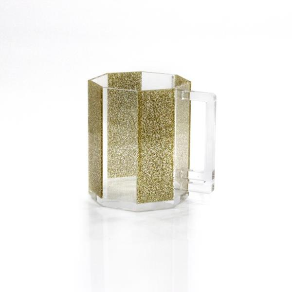 Waterdale Collection: Lucite Hexagon Wash Cup - Gold Glitter