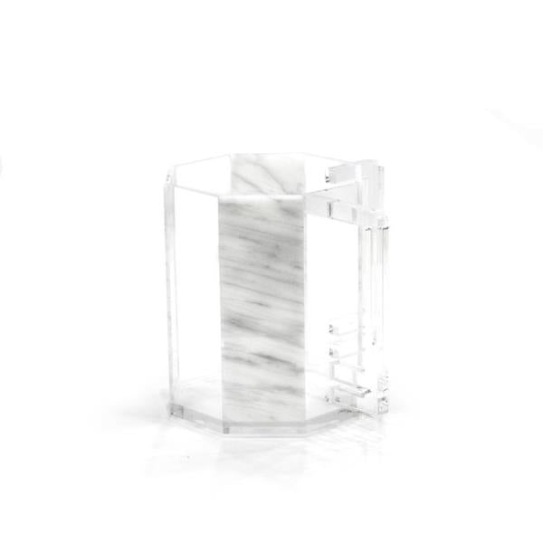 Waterdale Collection: Lucite Hexagon Wash Cup - Marble